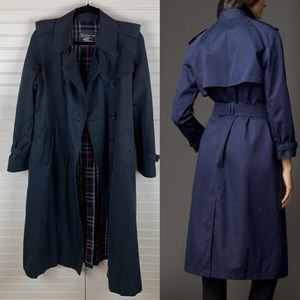 • Burberry • Navy Blue Trench Coat Size 12 Long